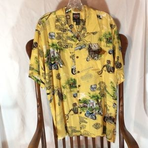 Harley Davidson Hawaiian Shirt, Made in Hawaii EUC